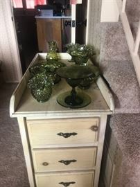 NICE VINTAGE TABLE WITH DRAWERS, GREEN GLASS