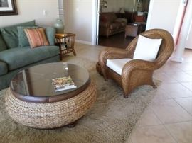 Tommy Bahama Style Chair & Roud Coffee Table with Glass Top