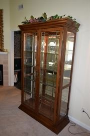 "Pulaski Curio 48"" Wide X 19"" D X 78"" T Beveled and Leaded Glass Lighted"