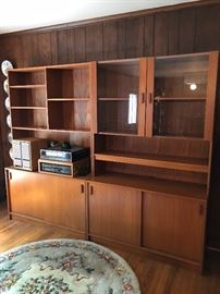 Mid-century Danish modern bookcases and cabinets