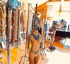 A huge selection of jewelry of every description and jewery and store display