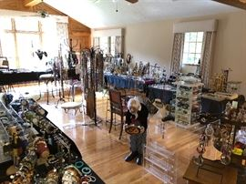 Overview of main room with 1000s of pieces of jewelry