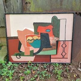 Constructivist style painting on panel by Ross Abrams, dated 1942...