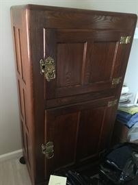 Antique ice box with solid brass hardware