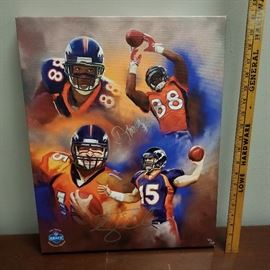 Denver Broncos Mural, Signed by Demaryius Thomas and Tim Tebow  with Certificate of Authenticity