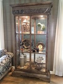 """High-end wood curio cabinet with stone trim! Purchased from LBrandys and measures 40"""" x 84""""H - $600."""