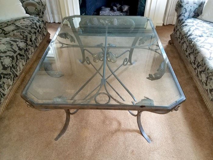 """Wrought iron and glass coffee table also purchased from LBrandys! 42"""" x 58"""" - $300."""