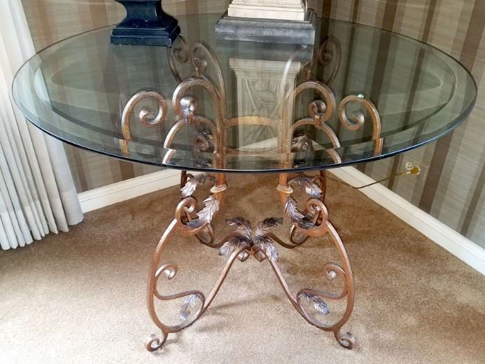 """Gorgeous wrought iron and glass occasional table purchased from LBrandys.  42"""" diameter"""
