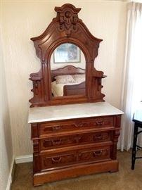 """Stunning antique dresser with mirror! 43""""W x 20-1/2""""D"""