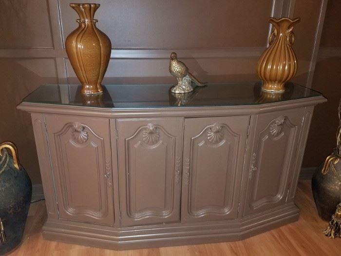 """Wood credenza with glass top! 58""""W x 18""""D x 31""""H - $100."""