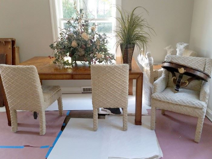 Wood table with five chairs