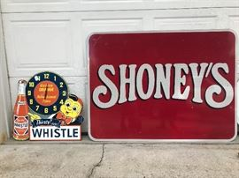 Extra large Shoney's reflecting sign and  large Whistle drink/clock sign