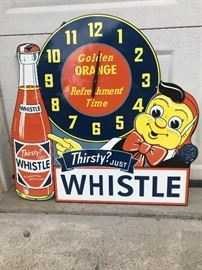 Vess Soft Drink Co. Thirsty? Just Whistle! Large sign/clock