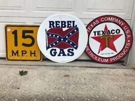 15 MPH, Rebel Gas, and Very nice Texaco sign