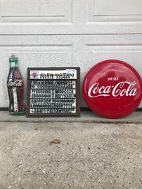 Coke bottle sign, Coke letter sign, Coca-Cola button sign