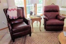 2 wine leather chairs