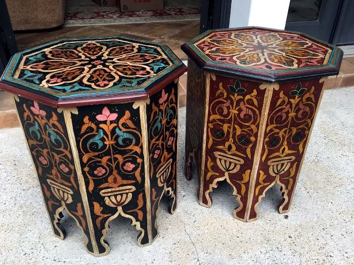 Moroccan Hand Painted Wooden Side Tables