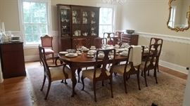 Hickory Chair Co. Dining Table and 10 Chairs--2 are Captains