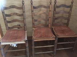 Set of 6 ladder back chairs - 2 arm chairs