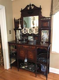 Antique inlay & mirror sideboard