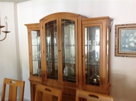 Gorgeous Lighted China Cabinet that matches the Dining Table