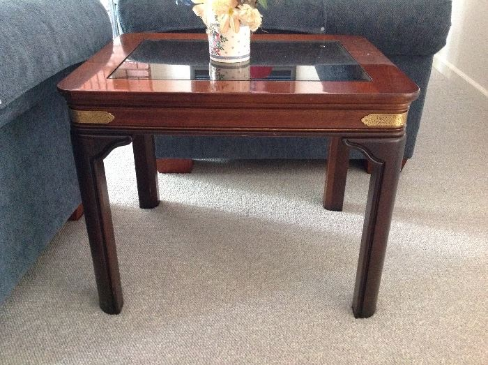 We have 2 of these Oblong Wood/Glass End Tables