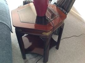 We have 2 of these Octagon Wood/Glass End Tables