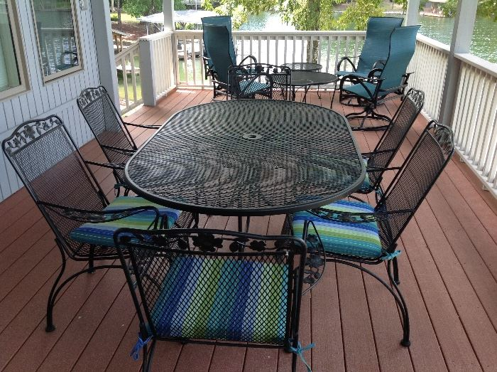 Wrought Iron Patio Set with 6 Chairs & Cushions with Sunbrella Fabric