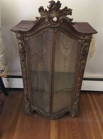 Gorgeous Free Standing Diminutive Standing Antique Gilded Dispay Case
