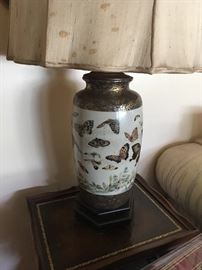 Lovely Old Pair of Asian Lamps in the Butterfly Pattern