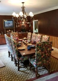 Large Solid Wood Farm House Style Table and 10 Chairs.  Table & Chairs can be sold seperately