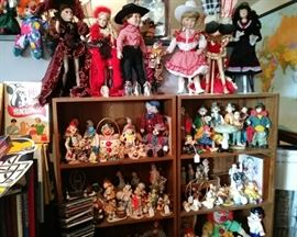 Stand up collectible porcelain dolls and clowns too....