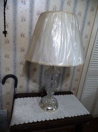 Several lamps, this one with crystal bottom