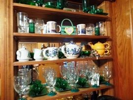 Lots of china and colorful glass