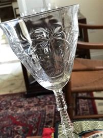 Exquisite cut and etched glass stemware