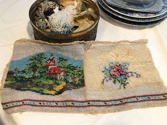 An unfinished kit for an antique beaded purse.