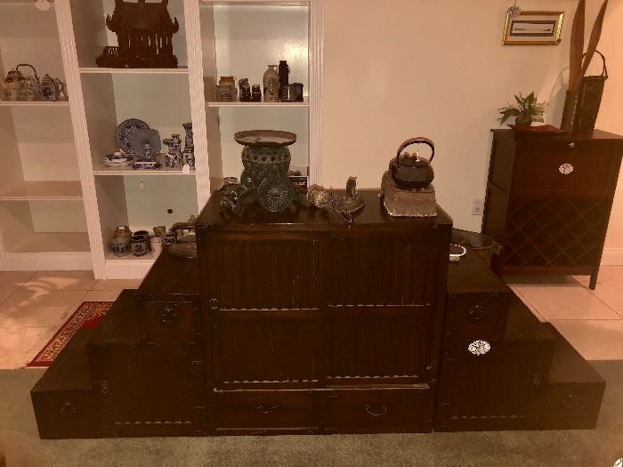 Antique Tansu table. Interchangeable pieces.  Bookshelf, display, steps for storag3 and display.