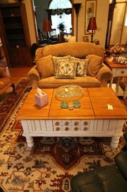 Twin size hidabed sofa like new - painted coffee table opens on both ends and has drawer for storage with matching end table