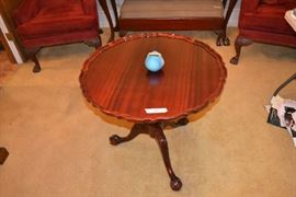 Van Briggle pottery and nice tilt top table
