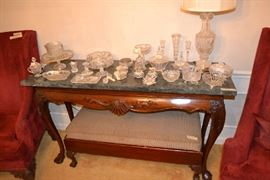 Heavy marble top server and bench