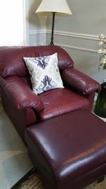 matching burgundy leather chair and ottoman