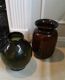 two oversize thick glass jars - nice decor!
