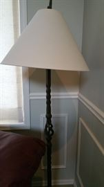 terrible photo of an very nice floor lamp - heavy iron with shade