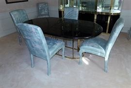 Brass and Marble Composite Table and Chairs Ceccarplast Italy