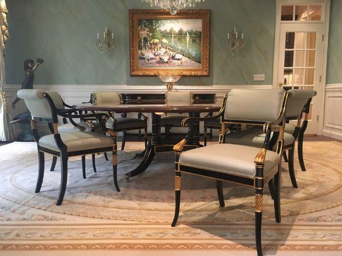 Karges Dinging Quadripartite Base Table and Karges (10) Parlor Deux Regency Chairs