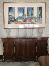 Baker Furniture Regency Mahogany Dwarf Breakfront, Thomas McKnight Signed Serigraph