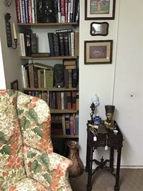 Mahogany side table and vintage wing chair