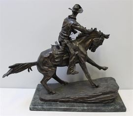 After Remington Bronze The Cowboy