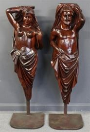 Antique and Life Size Carved Wood Figures