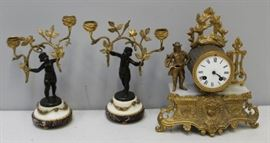 Antique Gilt Metal Figural Clock Together